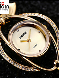 WEIQIN® Heart Pendant Bangle Bracelet Watches Women Gold & Silver Rhinestone Ladies Casual Dress Wristwatch