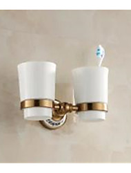 2016 Double  Brushed Wall Mounted Porcelain and Antique Toothbrush Holder