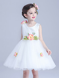 Ball Gown Short / Mini Flower Girl Dress - Tulle Sleeveless Jewel with