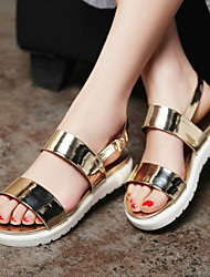 Women's Shoes Patent Leather Flat Heel Slide / Comfort Sandals Dress / Casual Silver / Gold