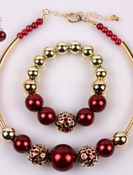 Pearl gold copper short gold plated necklace set