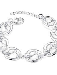 Lureme® Romantic Style Silver Plated Oval Carved Heart Charm Bracelets for Women