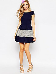 Women's Cute Color Block Sheath / Skater Dress , Round Neck Above Knee Cotton / Polyester