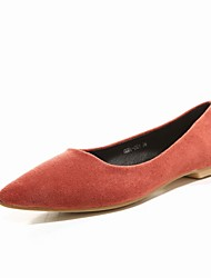 Women's Shoes Microfibre Flat Heel Fashion Boots / Comfort / Pointed Toe Flats Outdoor / Casual Brown / Gray / Orange