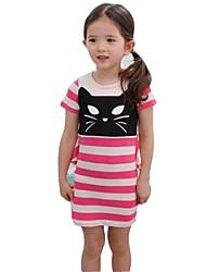 Girl's Black / Pink Dress,Stripes Cotton Summer