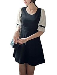 High Quality Women's Vintage / Street chic Solid A Line Dress , Round Neck Knee-length Polyester / Spandex