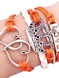 Bracelet Bracelets Alliage Cuir Inspiration Quotidien Décontracté Bijoux Cadeau Argent Blanc Orange,1pc