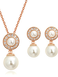 HKTC Bridal Cz Crystal Jewelry White Imitation Pearl Waterdrop Necklace and Earrings Set