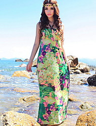 Women's Street chic Floral Sheath Dress , Halter Maxi Cotton / Polyester