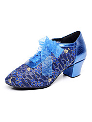 Non Customizable Women's Dance Shoes Latin / Dance Sneakers / Modern / Salsa Lace Chunky Heel Black / Blue