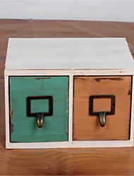 faire la vieille boîte 2 tiroirs rangement des bijoux d'artisanat de la mode de l'ameublement en bois