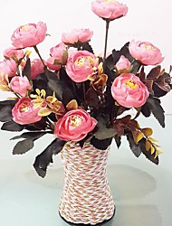 Plastic Camellia Artificial Flowers with Vase