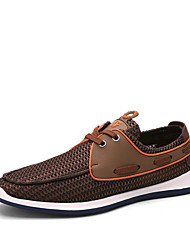 Men's Spring / Summer / Fall / Winter Comfort / Round Toe Suede / Tulle Outdoor / Office & Career / Casual Flat Heel Lace-upBlue / Brown