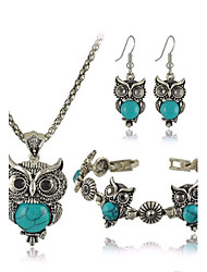 Women's European Fashion metal Imitation Turquoise Cute Little Owl Necklace Earrings Bracelet Set