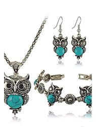 Bijoux Colliers décoratifs Boucles d'oreille Bracelet Soirée Quotidien Décontracté Alliage Résine Turquoise 1set FemmeNoir Rouge Bleu