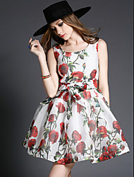 Women's Party / Cocktail / Holiday Floral Sheath / Skater Dress , Round Neck Above Knee Polyester