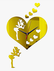 New Acrylic DIY 3D Mirror Home Decor Big Heart Angel Clock Mirror Surface Stickers