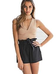 Women's Solid Black / Brown T-shirt , Halter Sleeveless
