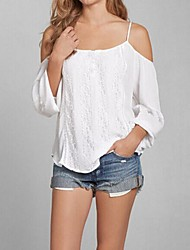 Women's Solid White Blouse,Strap Long Sleeve