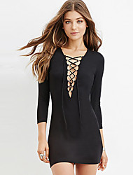 Women Slim Sexy Deep V-Neck Dress