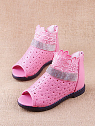 Girls' Shoes Dress / Casual Peep Toe / Comfort / Open Toe Faux Leather Sandals Pink / Red / White