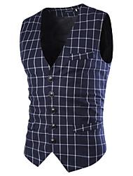 Blazer Pour des hommes A Motifs / Rayé Décontracté / Sport Acrylique / Polyester Sans Manches Noir / Bleu
