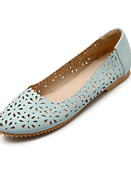 Women's Shoes Leatherette Flat Heel Comfort Flats Office & Career / Dress / Casual Black / Blue / Pink / White