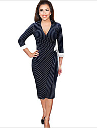 Women's Sexy Striped Bodycon Dress , V Neck Knee-length Polyester