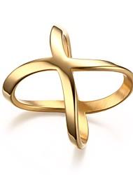 Ringe Hochzeit / Party / Alltag / Normal Schmuck Titanstahl / vergoldet Damen Statementringe 1 Stück,6 / 7 / 8 / 9 Goldfarben