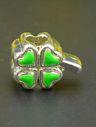 DIY de contas pulseira colar brinco acessórios jóias de prata verde esmalte trevo de três cores kong Zhu hac0029