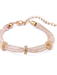 South Korea Gold Wire Mesh Crystal  Twist Flower Gear Lady Bracelet