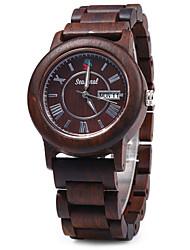 Seasonal Date Day Display Male Quartz Watch Maple Band Wrist Watch Cool Watch Unique Watch