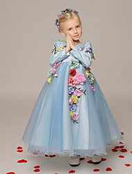 A-line Ankle-length Flower Girl Dress - Organza Long Sleeve