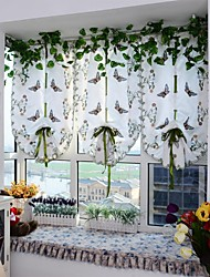 1PCS Roman Curtains Butterfly Embroidery Sheer Shade Balcony Windows Curtain