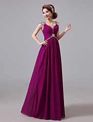 Prom / Formal Evening Dress A-line Jewel Floor-length Chiffon with Beading / Crystal Detailing / Side Draping / Sequins