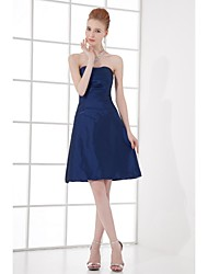 Lanting Bride Knee-length Taffeta Bridesmaid Dress A-line Strapless with Side Draping