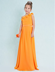 Sheath / Column One Shoulder Floor Length Chiffon Junior Bridesmaid Dress with Draping Flower(s) by LAN TING BRIDE®