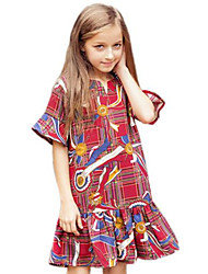 Girl's Red Dress,Floral Cotton Spring