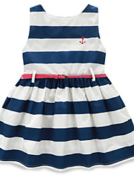 Girl's Striped Dress,Cotton Summer Multi-color