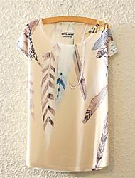 Tee-shirt Femme,Fleur Décontracté / Quotidien Mignon Actif Toutes les Saisons Manches Courtes Col Arrondi Multi-couleur Coton Moyen