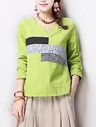 V-hals - Katoen - Bloem - Vrouwen - T-shirt - Lange mouw