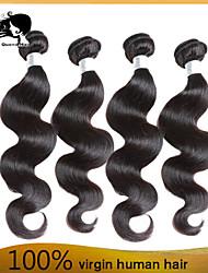 cabelo humano onda do corpo cabelo virgem peruano 4pcs tece cabelo 8-26 polegadas Venda preto quente natural.