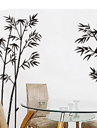 Elegant Peaceful Chinese Black Bamboo Bird Calm Down Removable Wall Stickers Fancy Home Decoration