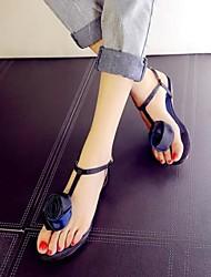 Women's Shoes Buckle Flower Peep Toe Flat Heel Comfort Sandals Dress Blue / Fuchsia