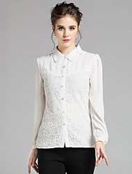 Women's Casual/Daily Street chic Spring Shirt,Solid Shirt Collar Long Sleeve White Polyester Medium
