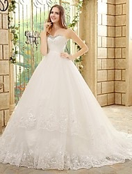 A-line Wedding Dress Court Train Strapless Tulle with Beading