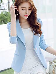 Mulheres Blazer Simples Primavera,Sólido Azul / Rosa / Preto Poliéster Colarinho de Camisa Manga Longa Média