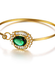 Fshion Party Accessories 18K Gold Plated Cuff Bangle Green Cubic Zirconia Bracelets & Bangles For Women