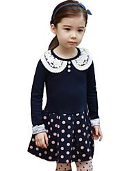 Vestido Chica de-Primavera / Otoño-Algodón-Azul / Rosa