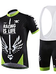 Fahrradtrikot mit Trägerhosen Damen Herrn Unisex Kurze Ärmel FahhradBib - Shorts/Kurze radhose MIT Trägern T-shirt Shorts/Laufshorts